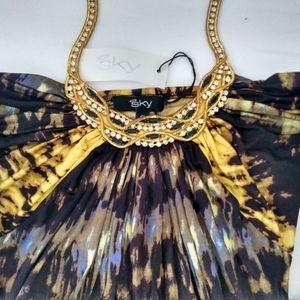 🆕SKY BRAND DRESS HALTER GOLD EMBELLISHMENTS